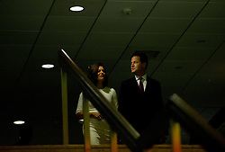 © London News Pictures. 26/09/2012. Brighton, UK.  Leader of the Liberal Democrats, Nick Clegg and his wife Miriam Gonzalez Durantez arriving at the  Liberal Democrat Conference in Brighton before Nick Clegg deliveres his keynote speech to delegates at the conference on September 26, 2012. Photo credit : Ben Cawthra/LNP.