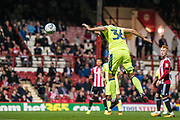 Derby County (36) Joe Ledley scoring goal during the EFL Sky Bet Championship match between Brentford and Derby County at Griffin Park, London, England on 26 September 2017. Photo by Sebastian Frej.