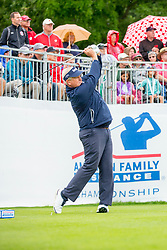 June 22, 2018 - Madison, WI, U.S. - MADISON, WI - JUNE 22: Colin Montgomerie tees off on the first tee during the American Family Insurance Championship Champions Tour golf tournament on June 22, 2018 at University Ridge Golf Course in Madison, WI. (Photo by Lawrence Iles/Icon Sportswire) (Credit Image: © Lawrence Iles/Icon SMI via ZUMA Press)