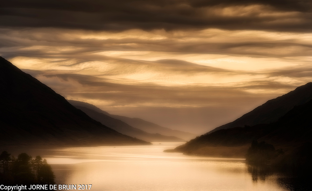 Loch Shiel, also known als the Black lake from the Harry Potter movies, in the late light of autumn.