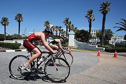 Jolanda Annen of Switzerland and Juri Ide of Japan at the start of the cycle leg during the Elite Women race of the Discovery Triathlon World Cup Cape Town leg held at Green Point in Cape Town, South Africa on the 11th February 2017.<br /> <br /> Photo by Shaun Roy/RealTime Images