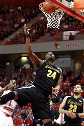 14 February 2015:   Shaquille Morris puts up an unbalanced shot during an NCAA MVC (Missouri Valley Conference) men's basketball game between the Wichita State Shockers and the Illinois State Redbirds at Redbird Arena in Normal Illinois
