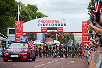 The Official Skoda vehicle leads the riders on The Mall in The Prudential RideLondon Classique. Saturday 28th July 2018<br /> <br /> Photo: Ian Walton for Prudential RideLondon<br /> <br /> Prudential RideLondon is the world's greatest festival of cycling, involving 100,000+ cyclists - from Olympic champions to a free family fun ride - riding in events over closed roads in London and Surrey over the weekend of 28th and 29th July 2018<br /> <br /> See www.PrudentialRideLondon.co.uk for more.<br /> <br /> For further information: media@londonmarathonevents.co.uk