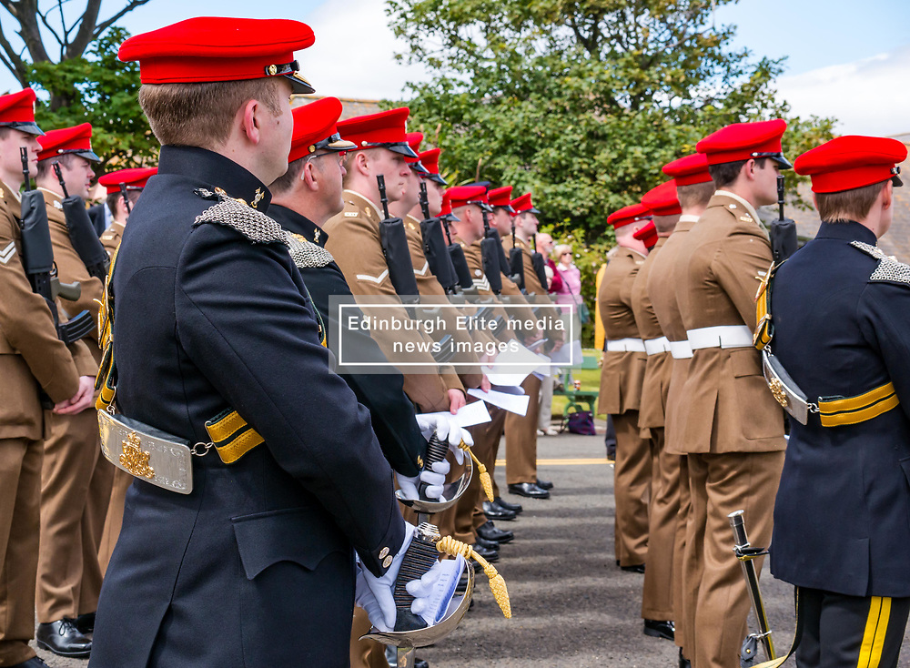 Pictured: Yeomanry receive Freedom of East Lothian, Dunbar, East Lothian, Scotland, United Kingdom, 06 July 2019. The historic Lothians and Border regiment is granted Freedom of East Lothian by Councillor Jim Goodfellow, East Lothian Council's Armed Forces Champion, which is accepted by Major S J Vine. The Yeomanry's links with the county date back to 1797.<br /> The regiment marches to Dunbar Parish Church where there is a rededication ceremony at the war memorial.<br /> <br /> Sally Anderson   EdinburghElitemedia.co.uk