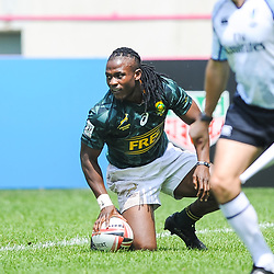 Seabelo Senatla of South Africa scores a try during match between South Africa and Russia at the HSBC Paris Sevens, stage of the Rugby Sevens World Series at Stade Jean Bouin on June 9, 2018 in Paris, France. (Photo by Sandra Ruhaut/Icon Sport)