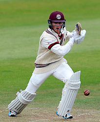 Somerset's Tom Abell drives the ball - Photo mandatory by-line: Harry Trump/JMP - Mobile: 07966 386802 - 06/07/15 - SPORT - CRICKET - LVCC - County Championship Division One - Somerset v Sussex- Day Two - The County Ground, Taunton, England.