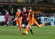 Sam Stanton of Dundee United goes past Craig Barr of Dumbarton - Dundee United v Dumbarton in the SPFL Championship at Tannadice, Dundee<br /> <br />  - &copy; David Young - www.davidyoungphoto.co.uk - email: davidyoungphoto@gmail.com