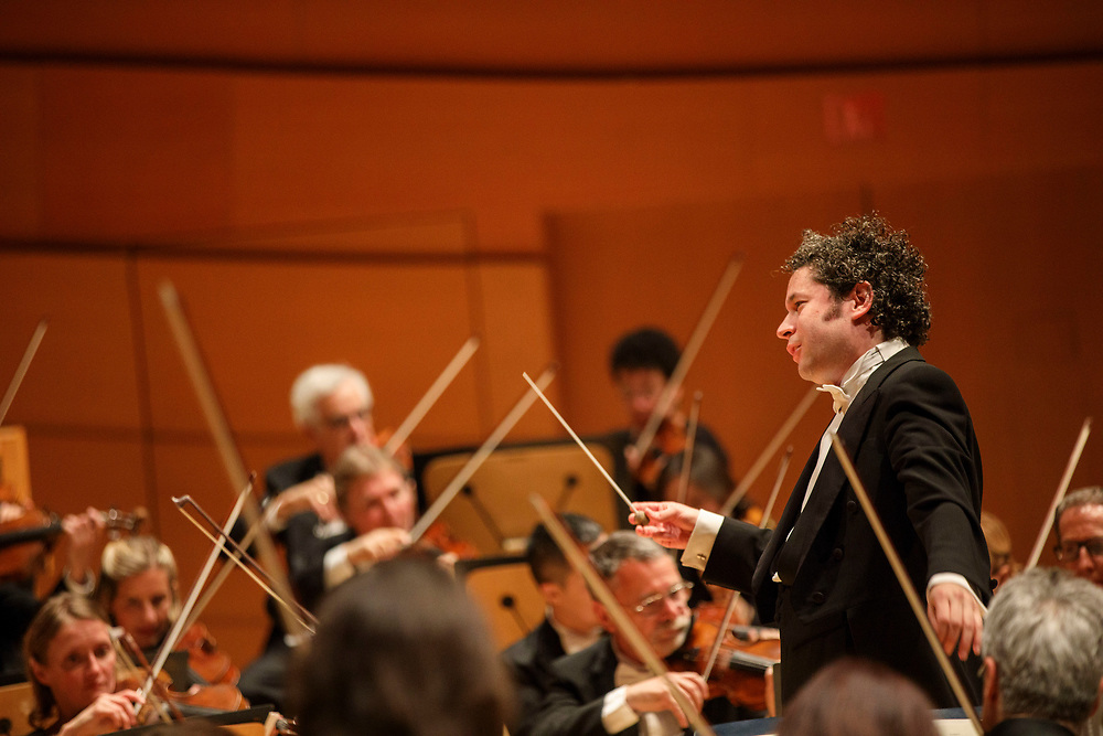 Conductor Gustavo Dudamel conducts the Schubert symphony during the LA Philharmonic performance at the Walt Disney Concert Hall on Thursday, May 18, 2017 in Los Angeles, Calif. The evening's performance featured Gustavo Dudamel's Schubert symphony as well as a tribute to outgoing president Deborah Borda, followed by a solo vocal from mezzo-soprano Sasha Cooke. © 2017 Patrick T. Fallon