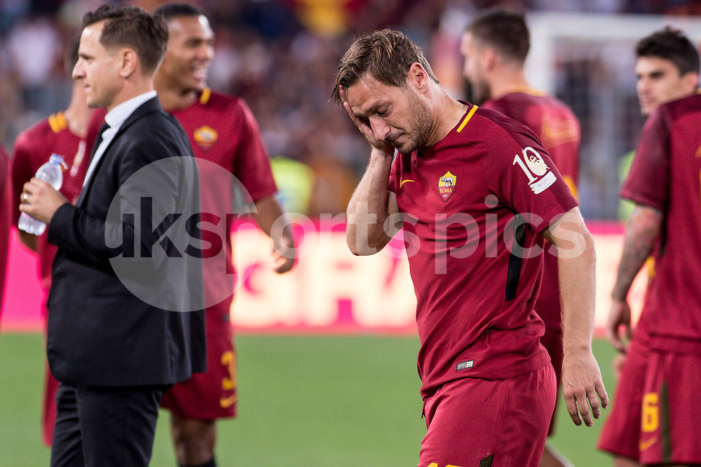 Francesco Totti of Roma on his last appearance in Rome after more than 20 years looks dejected during the Serie A match between Roma and Genoa at Stadio Olimpico, Rome, Italy on 28 May 2017. Photo by Giuseppe Maffia.