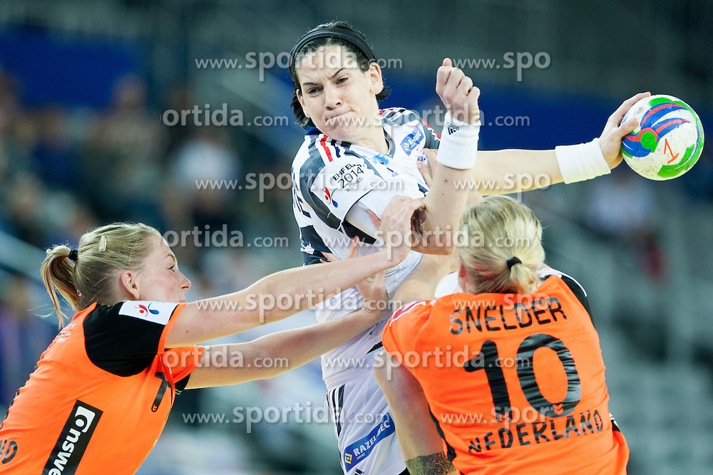Alexandra Lacrabere #64 of France and Danick Snelder #10 of Netherlands at handball match between Netherlands and France at 11th EHF European Women's Handball Championship Hungary-Croatia 2014, on December 17, 2014 in Arena Zagreb, Zagreb, Croatia. Photo By Urban Urbanc / Sportida