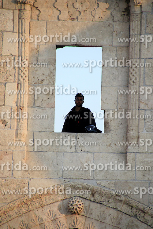 10.10.2015, Jerusalem, ISR, Gewalt zwischen Pal&auml;stinensern und Israelis, im Bild Zusammenst&ouml;sse zwischen Pal&auml;stinensischen Demonstranten und Israelischen Sicherheitskr&auml;fte // Israeli policemen secure the area where a Palestinian stabbed two police officers, then other police forces opened fire and killed him, but also wounded one of their own, at the Damascus Gate of Jerusalem's Old City, Saturday, Oct. 10, 2015. Palestinians carried out two stabbing attacks in Jerusalem on Saturday before being shot dead by police, while another two Palestinians were killed during a violent demonstration near the Gaza border fence. The violence, including the first apparent revenge attack by an Israeli Friday and increasing protests by Israel's own Arab minority, has raised fears of the unrest spiraling further out of control, Israel on 2015/10/10. EXPA Pictures &copy; 2015, PhotoCredit: EXPA/ APAimages/ Mahfouz Abu Turk<br /> <br /> *****ATTENTION - for AUT, GER, SUI, ITA, POL, CRO, SRB only*****