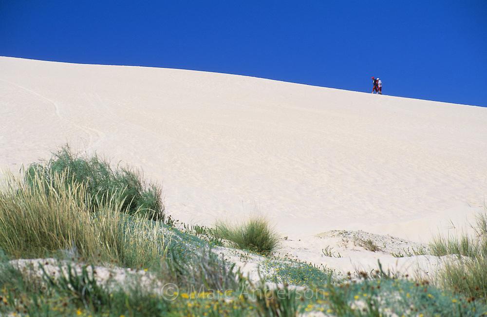People walking on a sand dune, Tarifa, Spain