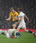 Twickenham, Surrey. UK. Reece HODGE,  tackled by Elliot DALY and Owen FARRELL,  during the <br /> England VS Australia, Autumn International. Old Mutual Wealth Series. RFU Stadium, Twickenham. UK<br /> <br /> Saturday  18.11.17<br /> <br /> [Mandatory Credit Peter SPURRIER/Intersport Images]
