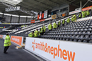 Hull City's KC Stadium security staff pre match security check around seating areas before the Sky Bet Championship match between Hull City and Burnley at the KC Stadium, Kingston upon Hull, England on 26 December 2015. Photo by Ian Lyall.