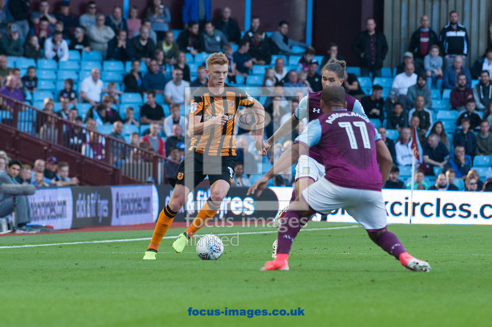 Sam Clucas of Hull City pushes forward during the Sky Bet Championship match at Villa Park, Birmingham<br /> Picture by Matt Wilkinson/Focus Images Ltd 07814 960751<br /> 05/08/2017