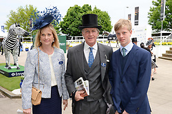 BEN & LUCY SANGSTER and their son OLLIE SANGSTER at the Investec Derby 2013 held at Epsom Racecourse, Epsom, Surrey on 1st June 2013.