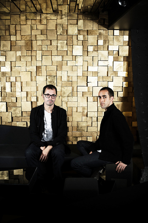 PARIS, FRANCE. JULY 30, 2011. Silencio's owner Arnaud Frisch (wearing glasses) with Silencio's designer Raphael Navot at the club. Photo: Antoine Doyen