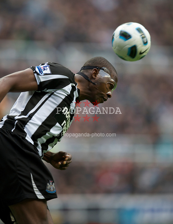 NEWCASTLE, ENGLAND - Saturday, March 5, 2011: Newcastle United's Shola Ameobi, wearing a protective plastic face mask, during the Premiership match against Everton at St. James' Park. (Photo by David Rawcliffe/Propaganda)
