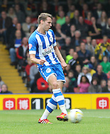 Picture by David Horn/Focus Images Ltd +44 7545 970036<br /> 28/09/2013<br /> James McArthur of Wigan Athletic scores only for it to be ruled off-side during the Sky Bet Championship match at Vicarage Road, Watford.