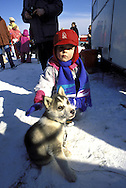 DEU, Germany,  dog sled race in Winterberg, Sauerland, boy with a young Siberian Husky.....DEU, Deutschland, Schlittenhunderennen in Winterberg, Sauerland, Junge mit einem jungen Sibirischen Husky.........