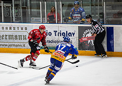 76# Nik Pem of Jesenice during ice hockey match between HK SIJ Acroni Jesenice and Asiago Hockey in Round #3 of Alps Hockey League 2018/19 , on September 22, 2018 in Podmezakla hall , Jesenice, Slovenia. Photo by Urban Meglic / Sportida