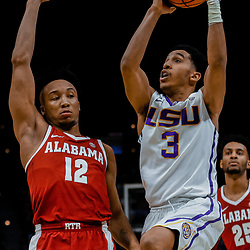 Jan 13, 2018; Baton Rouge, LA, USA; LSU Tigers guard Tremont Waters (3) shoots over Alabama Crimson Tide guard Dazon Ingram (12) during the second half at the Pete Maravich Assembly Center. Alabama defeated LSU 74-66.  Mandatory Credit: Derick E. Hingle-USA TODAY Sports