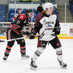 "TRENTON, ON  - MAY 2,  2017: Canadian Junior Hockey League, Central Canadian Jr. ""A"" Championship. The Dudley Hewitt Cup. Game 1 between Dryden GM Ice Dogs and the Georgetown Raiders. Woody Galbraith #18 of the Dryden GM Ice Dogs    <br /> (Photo by Amy Deroche / OJHL Images)"