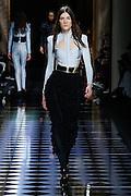 Balmain, Female model cat walking during the Paris womenswear fashion shows, winter 2016 - 2017, Women ready to wear, France<br /> ©Exclusivepix Media