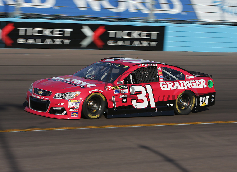 Ryan Newman qualifies for Sunday's NASCAR Cup Series auto race on Friday, March 17, 2017, in Avondale, Ariz.  (AP Photo/Rick Scuteri)