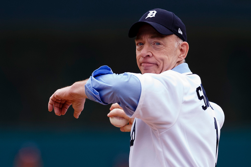 Apr 6, 2015; Detroit, MI, USA; Michigan native and Best Supporting Actor Academy Award Winner, J.K. Simmons throws out the ceremonial first pitch before the game between the Detroit Tigers and the Minnesota Twins at Comerica Park. Mandatory Credit: Rick Osentoski-USA TODAY Sports