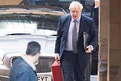 © Licensed to London News Pictures. 19/10/2019. London, UK. Prime Minister Boris Johnson arrives at The Houses of Parliament ahead of todays vote on his EU Withdrawal Agreement .  Photo credit: George Cracknell Wright/LNP