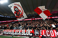 SYDNEY, AUSTRALIA - OCTOBER 26: The Western Sydney Wanderers fans the RBB during pregame of the round 3 A-League soccer match between Western Sydney Wanderers FC and Sydney FC on October 26, 2019 at Bankwest Stadium in Sydney, Australia. (Photo by Speed Media/Icon Sportswire)