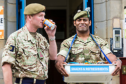 Brigadier Gary Deakin CBE welcomes performers to the Army reserve centre at Hepburn House for the opening of the Army's first ever Edinburgh Festival Fringe venue.<br /> <br /> Pictured: Brigadier Gary Deakin CBE with Corporal Raju Latianara from the 6 Scots Regiment