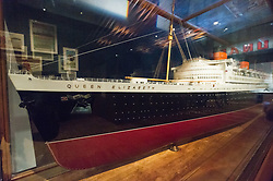 © Licensed to London News Pictures. 31/01/2018. London, UK. A model for Cunard's Queen Elizabeth ship, 1938 is on display as part of the Ocean Liners: Speed And Style exhibition at the V & A museum. The exhibits will re-imagine the golden age of ocean travel, exploring the design and cultural impact of the ocean liner on an international scale. Photo credit: Ray Tang/LNP
