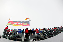 Fans of biathlon during Man 15km mass start of the e.on IBU Biathlon World Cup on Sunday, December 16, 2012 in Pokljuka, Slovenia. The third e.on IBU World Cup stage is taking place in Rudno polje - Pokljuka, Slovenia until Sunday December 16, 2012. (photo by Urban Urbanc / Sportida.com)