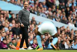Manchester City manager Pep Guardiola shouts to Raheem Sterling - Mandatory by-line: Matt McNulty/JMP - 14/10/2017 - FOOTBALL - Etihad Stadium - Manchester, England - Manchester City v Stoke City - Premier League