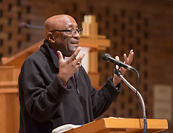 Bishop Ernst Gamxaub of Namibia speaks at Trinity Lutheran on Monday, April 25, 2016. (Photo: John Froschauer/PLU)