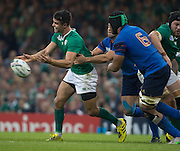 Cardiff, Wales, Great Britain, Ireland's,  Conor MURREY, under  pressure, releases the ball, during the Pool D game, France vs Ireland.  2015 Rugby World Cup,  Venue, Millennium Stadium, Cardiff. Wales   Sunday  11/10/2015.   [Mandatory Credit; Peter Spurrier/Intersport-images]