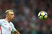 Warsaw, Poland - 2017 September 04: Kamil Grosicki from Poland looks at the ball during soccer match Poland v Kazakhstan - FIFA 2018 World Cup Qualifier at PGE National Stadium on September 04, 2017 in Warsaw, Poland.<br /> <br /> Adam Nurkiewicz declares that he has no rights to the image of people at the photographs of his authorship.<br /> <br /> Picture also available in RAW (NEF) or TIFF format on special request.<br /> <br /> Any editorial, commercial or promotional use requires written permission from the author of image.<br /> <br /> Mandatory credit:<br /> Photo by &copy; Adam Nurkiewicz / Mediasport