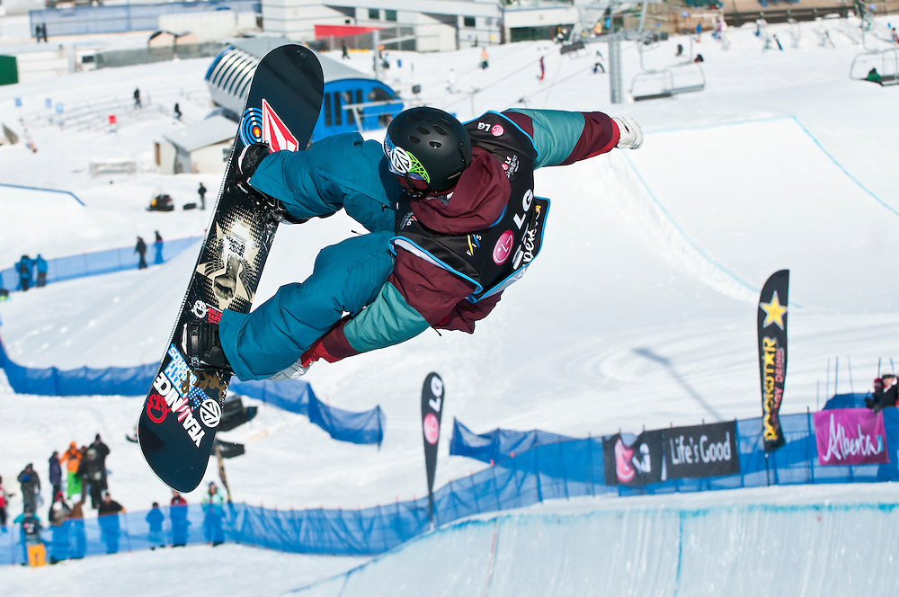 Snowboarder at LG Snowboard FIS World Cup 2011, men's halfpipe event, Canada Olympic Park, Calgary, Alberta, Canada