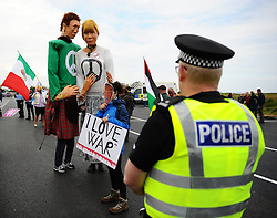 Pictured: Protesters gather to protest against US Presidential candidate Donald Trump as he arrives in Scotland to open his multi-million pound redevelopment of his Turnberry hotel and golf resort.<br /> <br /> <br /> &copy; Dave Johnston/ EEm