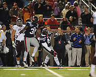 Ole Miss defensive end Jason Jones (38) and Ole Miss linebacker Ralph Williams (44) celebrate a stop on third and goal vs. Texas A&M in Oxford, Miss. on Saturday, October 6, 2012. Texas A&M won 30-27...