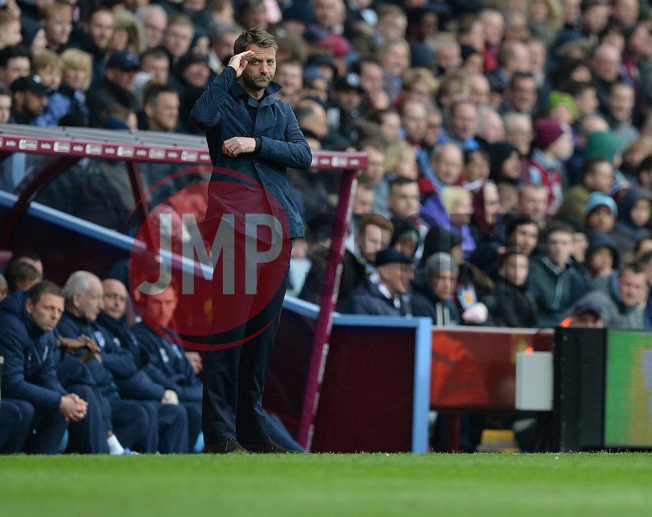 Aston Villa Manager, Tim Sherwood salutes the holt end.  - Photo mandatory by-line: Alex James/JMP - Mobile: 07966 386802 - 02/05/2015 - SPORT - Football - Birmingham - Villa Park - Aston Villa v Everton - Barclays Premier League