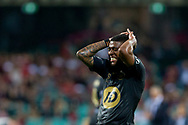 SYDNEY, AUSTRALIA - OCTOBER 27: Western Sydney Wanderers midfielder Roly Bonevacia (28) holds his head in frustration after shooting over the bar at The Hyundai A-League Round 1 soccer match between Sydney FC and Western Sydney Wanderers FC The Sydney Cricket Ground in Sydney on October 27, 2018. (Photo by Speed Media/Icon Sportswire)