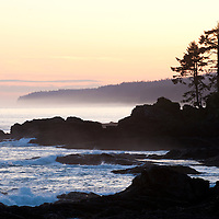 Sunset on the west coast (Pacific Ocean) of Vancouver Island, near Port Renfrew, British Columbia, Canada
