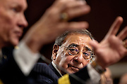 Defense Secretary LEON PANETTA looks on as Chairman of the Joint Chiefs of Staff Gen. MARTIN DEMPSEY testifies.before the Senate Armed Services Committee on the Defense Authorization Request for FY2013 and the Future Years Defense Program.