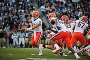 Sept. 4, 2010; Akron, OH, USA; Syracuse Orange quarterback Ryan Nassib (12) drops back for a hand-off during the first quarter against the Akron Zips at InfoCision Stadium. Mandatory Credit: Jason Miller-US PRESSWIRE