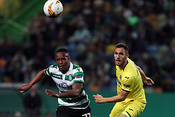 February 14, 2019 - Lisbon, Portugal - Sporting's forward Jovane Cabral from Cabo Verde (L) vies with Villarreal's defender Victor Ruiz during the UEFA Europa League Round of 32 First Leg football match Sporting CP vs Villarreal CF at Alvalade stadium in Lisbon, Portugal on February 14, 2019. (Credit Image: © Pedro Fiuza/ZUMA Wire)
