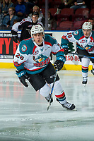 KELOWNA, CANADA - FEBRUARY 7:  Leif Mattson #28 of the Kelowna Rockets skates against the Vancouver Giants on February 7, 2018 at Prospera Place in Kelowna, British Columbia, Canada.  (Photo by Marissa Baecker/Shoot the Breeze)  *** Local Caption ***