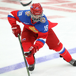 COBOURG, - Dec 19, 2015 -  Gold Metal Game - Russia vs Canada West at the 2015 World Junior A Challenge at the Cobourg Community Centre, ON. Kirill Slepets #19 of Team Russia skates with the puck during the first period.(Photo: Tim Bates / OJHL Images)